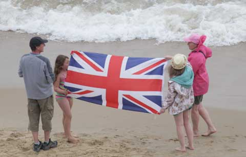 Patriotic vcrowd during the Battle of Britain Memorial Flight. Picture by Corin Messer. Bournemouth Air festival 2012.
