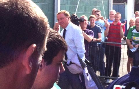 BIG ENTRANCE: Harry Redknapp arrives at Yeovil this afternoon after travelling on the Cherries team coach