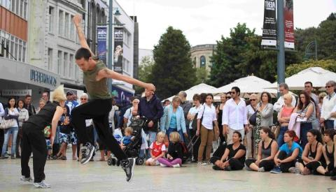 'The Living Room Outdoors' Dance Performance group entertains the crowd