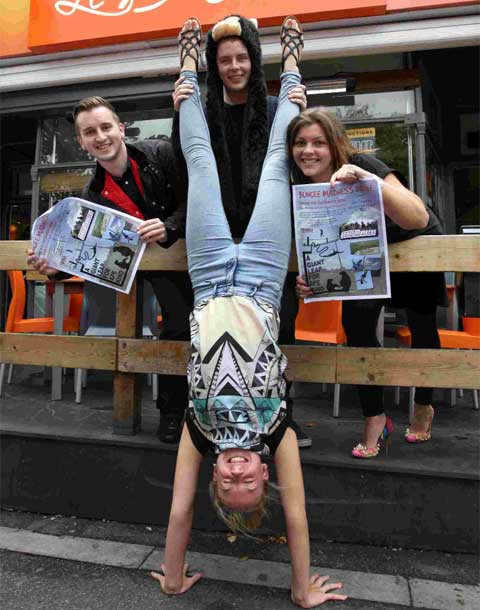READY TO JUMP: Left, Sean-Paul Mackin, Lucy Mills and Lewis Banks