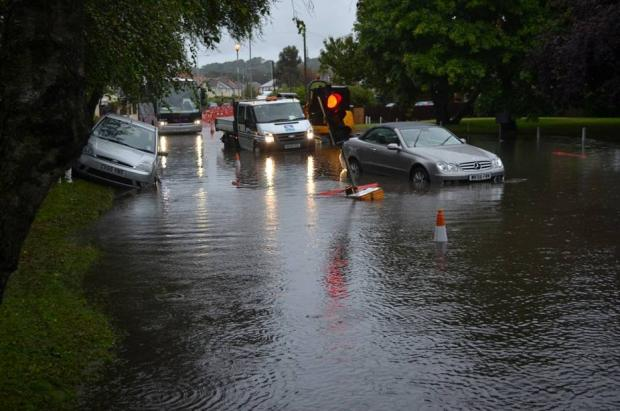 Sanbanks Road as Dorset is hit by torrential downpours