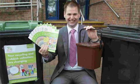 READY TO LAUNCH: Steve Burdis Director for the Dorset Waste Partnership promoting the new waste service which will start in Christchurch in October