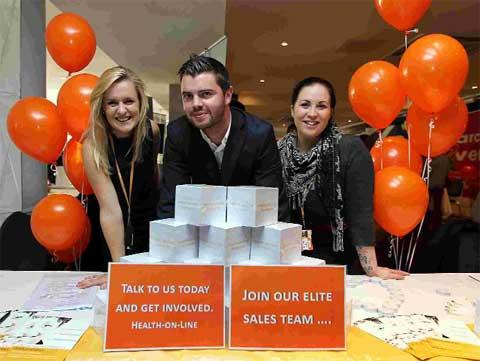 HELPING: Fiona Carter, James Neeves and Vicki Hunt from Health-On-Line at the Daily Echo Jobs Fair at the Premier Inn on Westover Road. Picture: Sally Adams