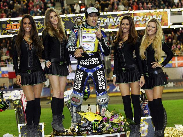 CROWNING GLORY: Chris Holder on the podium in Torun on Saturday
