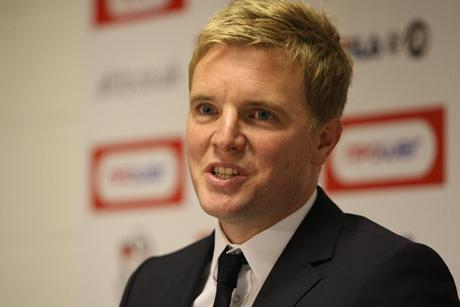 WELCOME HOME: Eddie Howe talks to the media at Dean Court this lunchtime