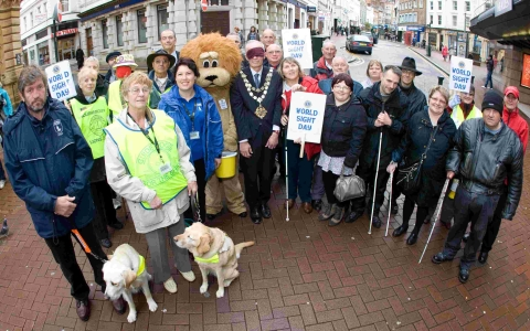 Walkers close their eyes for World Sight Day