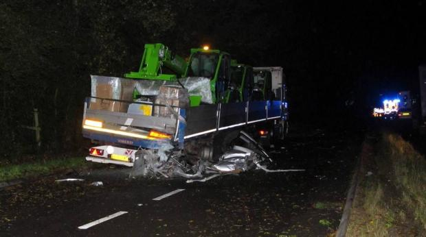 The scene of the crash on the A31. Pictures: Simon Rowley