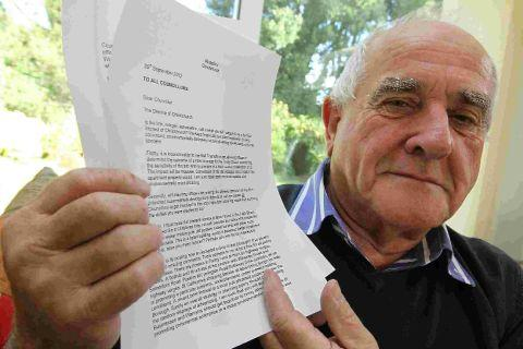 IN WRITING: Former councillor Mike Winfield with the letter he sent to all current Christchurch councillors about the state of the town