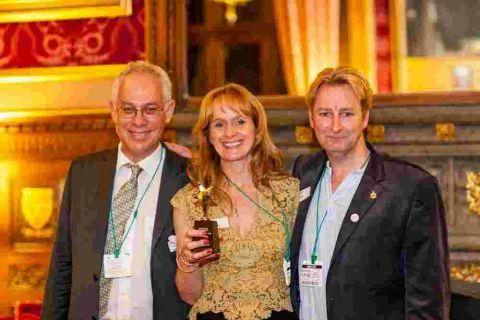 WRITE STUFF: Playwright Ben Kaye, right, at the House of Commons with composer Adam Gorb and director Caroline Clegg