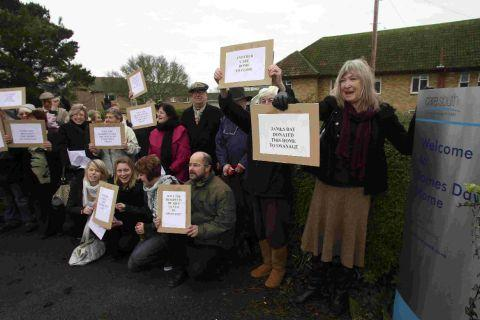 Protesters gather outside James Day Home in Swanage to demonstrate against the closure of the home back in 2010. The home is now set to reopen