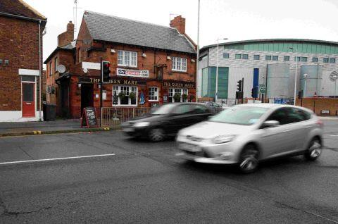 BUSY: Town centre traffic on the revamped road system