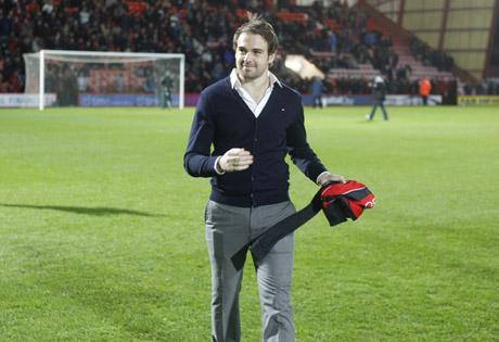 BACK HOME: Brett Pitman is unveiled to the Cherries faithful tonight
