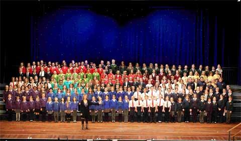 ALL SET TO SING: The Primary choir prior to their performance yesterday at the 2012 annual Bournemouth School's Music Association Carol Festival at the Pavilion in Bournemouth.