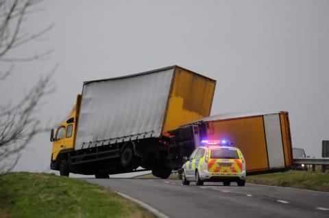 Lorry blown over the A35