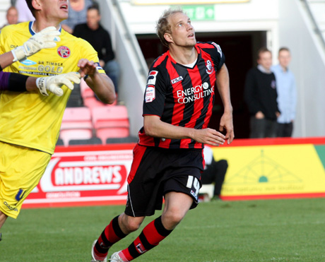ON TARGET: Frank Demouge scored Cherries' opener this afternoon
