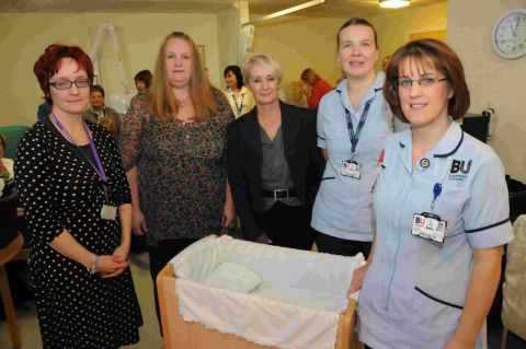 YEAR-LONG EFFORT: Jo Hartley, Mandy Homer, celebrity chef Lesley Waters, Joanna Mockler and Emma Knott with the new cold cot