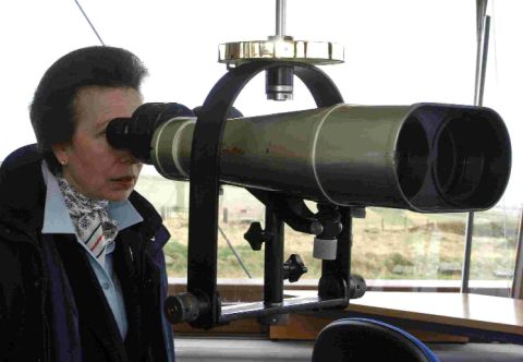 ROYAL WATCHER: Princess Anne at the Coastwatch lookout on Portland