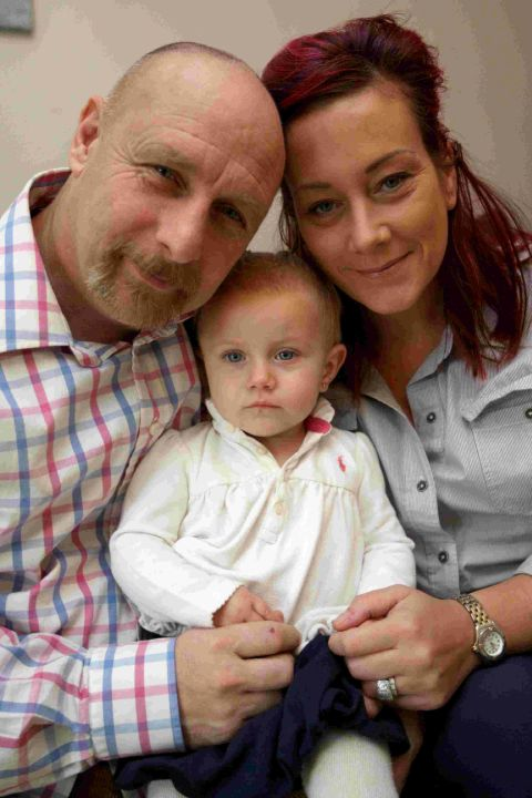 Kimberley and Graham Rutter with their daughter Betty-Peach