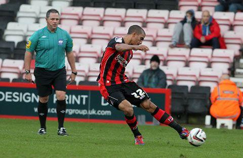 WINNER: Cherries striker Lewis Grabban hits his ninth goal of the season (Pictures: Sally Adams)