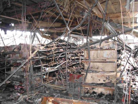 RAZED: The Co-op store on Blandford Road, Hamworthy, after the fire