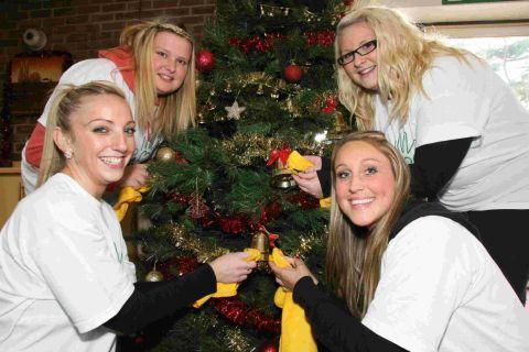 Staff from Lloyds Bank Insurance decorate the Christmas tree at the James Burns House Leonard Cheshire