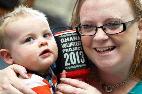 Fundraiser Hazel Howells, 27, pictured with one-year-old son Lewis, hopes to embark upon a trip to Ghana to build a school for villagers