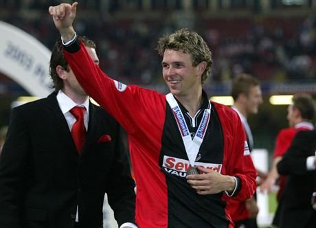 GOLDEN MOMENT: Stephen Purches celebrates at the Millennium Stadium in 2003