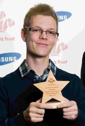 CHAMPION: Nat Hawley with his Prince's Trust award