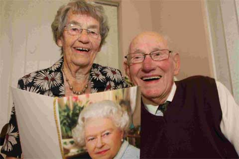 HAPPY COUPLE: Eric and Elizabeth Trill, who celebrate their 70th wedding anniversary and, inset, the couple pictured during the 1940s