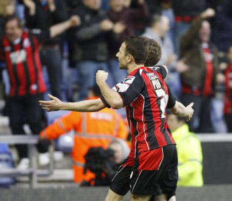 GOAL CELEBRATIONS: Cherries rejoice after taking the lead