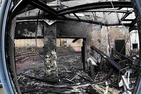 GUTTED:  The remains of the Gainsford theatre inside the Arts block at Lytchett Minster School after it was destroyed by fire which  was the result of a lightning  strike