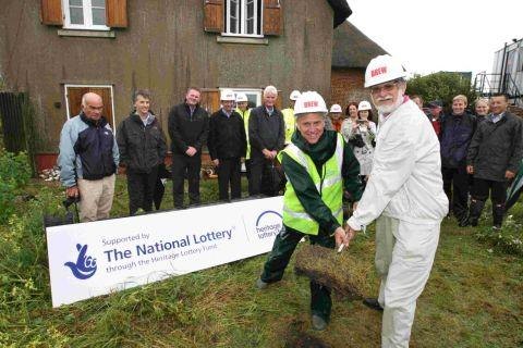 DIGGING DEEP: Cllr Rod Cooper, right, cabinet member for tourism, leisure and culture, and Mark Holloway, countryside operations manager, officially turn the first turf to start the work on the new visitor centre