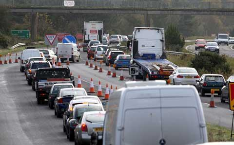 Roadworks caused tailbacks in November of last year