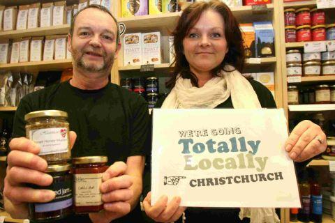 IT'S HAPPENING:  Ian Cook of Heartizans Deli in Christchurch, with Cheryl Dennett, organiser of the Totally Locally campaign
