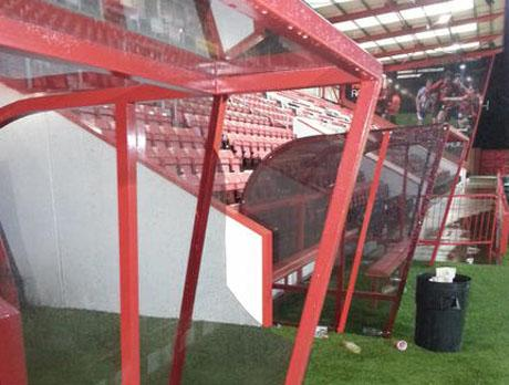 BROKEN: The away dugout following Saturday's match