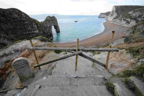 The barricade at Durdle Door