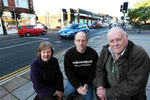 CALL FOR CHANGE: Richard Wilson, centre, and councillors Brian Clements and Marion Poidevin at the junction