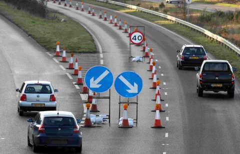 A35 Upton bypass down to single lanes from Monday