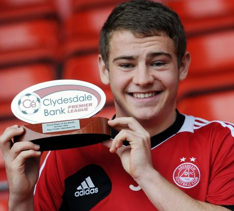 PRIZE GUY: Ryan Fraser with young player of the month award