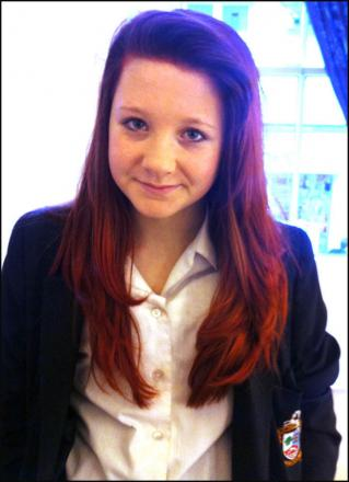 Alisha Kay-Tyler, who was banned from lessons at Ringwood School because of her dyed red hair