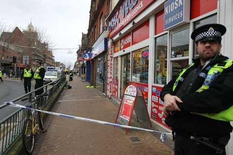 CORDONED OFF: Emergency services attend the scene of an incident in Boscombe where a police officer was attacked.