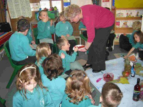 EDUCATIONAL: Development Education Dorset – DEED – staff giving a lesson on Fairtrade food