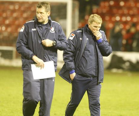 REFLECTIVE: Eddie Howe with Neil Moss at Bescot