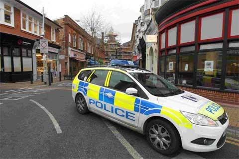 ARREST: Emergency services attend to the scene of an incident in Boscombe where a police officer was allegedly attacked
