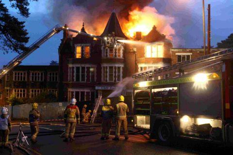 FRESH BID: The Cliff End Hotel in Boscombe on fire earlier this year
