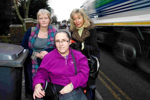 Wendy Tiffin, centre, with Leonard Cheshire Disability local campaigns co-ordinator Julie Stainton, left, and Parkstone councillor Sally Carpenter