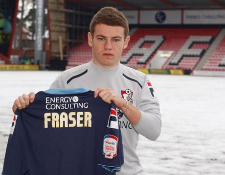 CHERRIES NEW BOY: Ryan Fraser at Dean Court yesterday