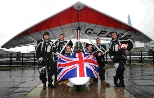 Capt Luke Sinnott, second left, with the rest of the microlight team.