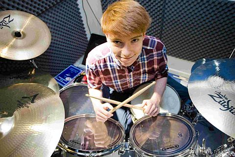 DRUMMING UP SUPPORT: 16-year-old Verwood drummer Nathan Wallington