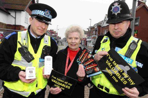 REMINDER: From left are PCSO Mark Lane, police support volunteer Isobel Widmer and PC Alan Leeland of Highcliffe Safer Neighbourhood Team
